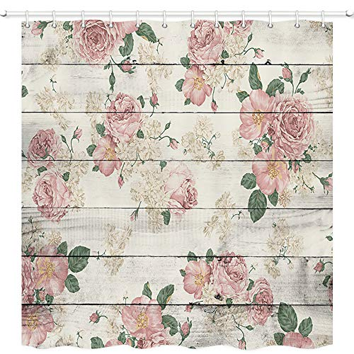 "NYMB Retro Country Wooden Plank Floral Plant Shower Curtains, Vintage Pink Rose Flower on Rustic Wood Bathroom Curtains Waterproof Fabric Panel Bath Curtain Sets with 12 Hooks, 70""X70"""