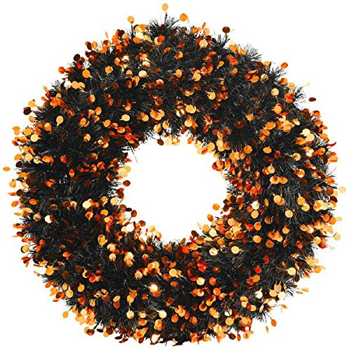 Greenbrier  Tinsel Wreath, Halloween, Black/Orange