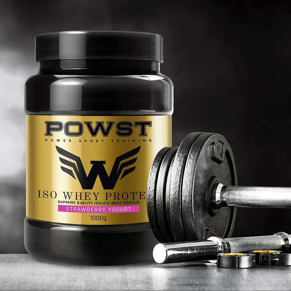 Bote Whey Protein Isolate, aislado de Proteína de Suero de Leche en polvo con BCAA aminoacidos, 1Kg (Sabor yogur con Fresas) POWST