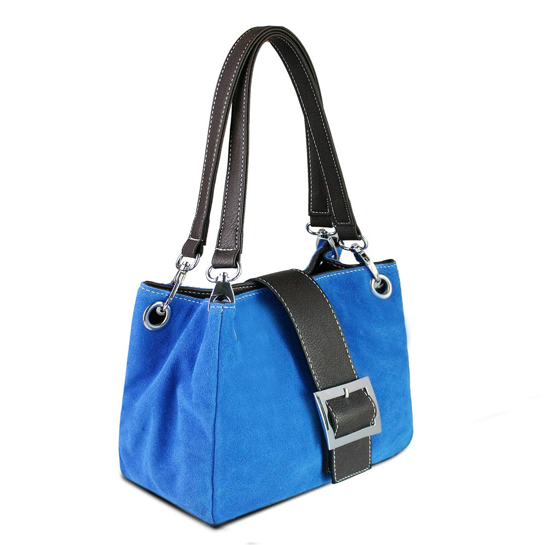 d65aecaae3c6 Womens Small Real Italian Suede Hobo Slouch Shoulder Bag Double Twin Strap  (Blue)  Amazon.co.uk  Shoes   Bags