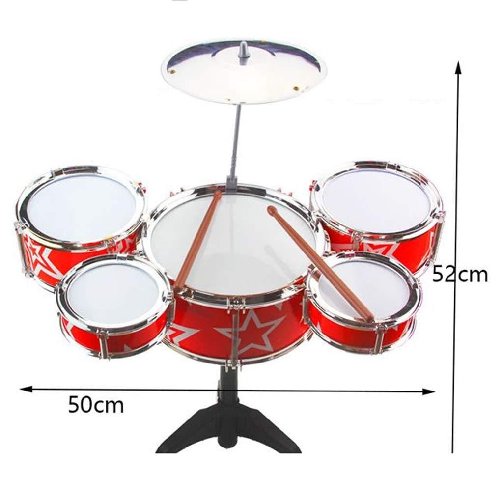 Baby Drum Toy übergroßes Kind 1-3-6 Jahre altes Kind Anfänger Musikinstrument Schlagzeug Junge (Farbe   rot) rot