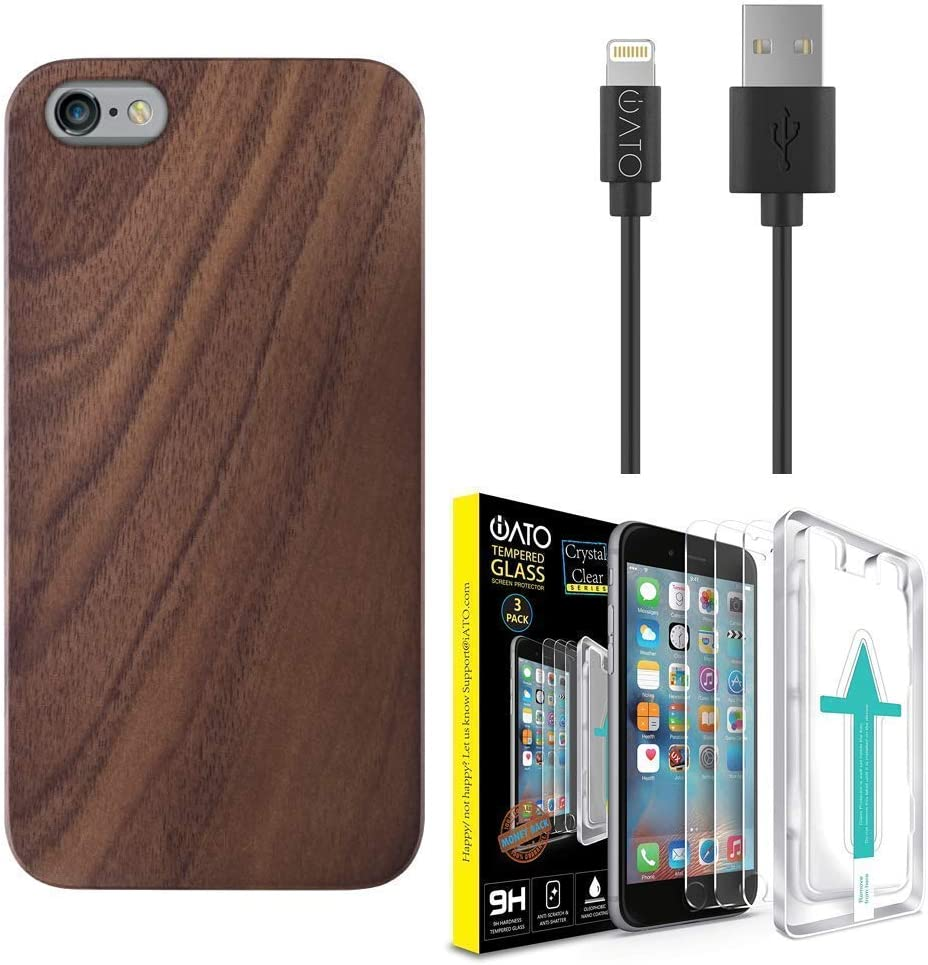 iPhone 6s+ 6+ Wood Case + Glass Screen Protector [3 Pack] + Apple MFi Certified Lightning Cable