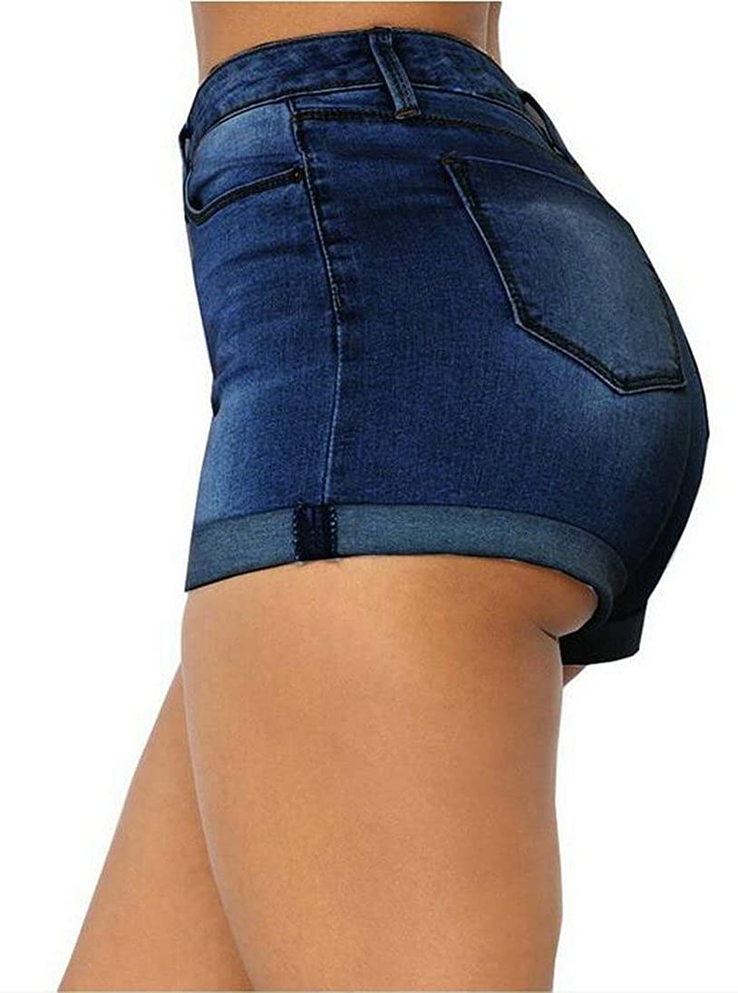 YUNY Womens Casual High Waist Roll up Washed Denim Shorts Jeans