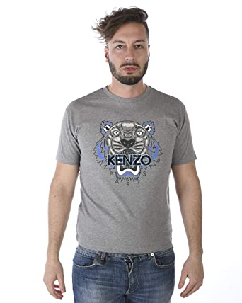 9d71b57b3f4e8 Amazon.com: Kenzo Men's Leopard Tiger Grey Cotton T-Shirt: Clothing