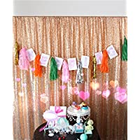 TRLYC 4Ft6.5Ft Rose Gold Sequin Photo Booth Backdrop Sparkly Curtain for Wedding Party Decoration