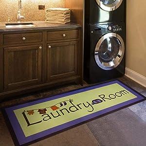 USTIDE Retro Laundry Room Rug 2x4 Waterproof Floor Runners Non Skid Kitchen Floor Mat Farmhouse Washhouse Mat Rubber Runner Rug