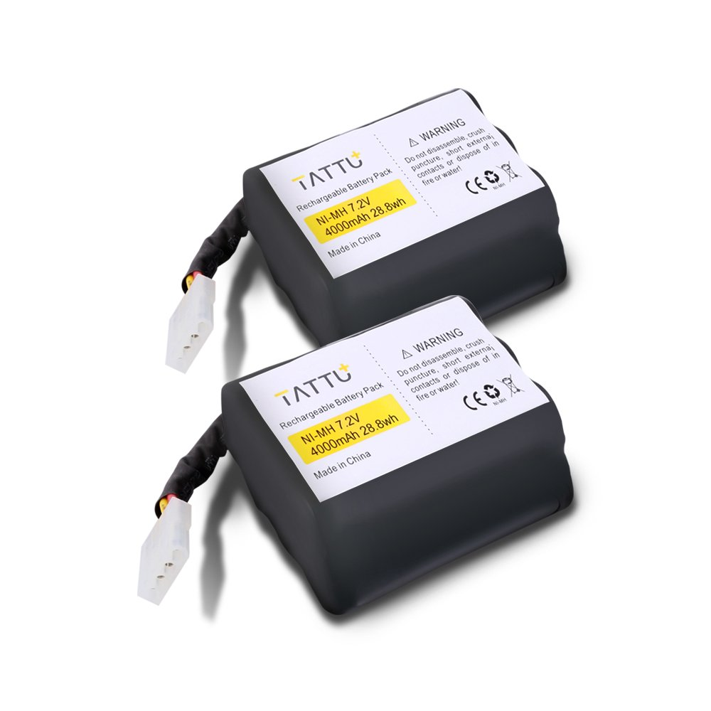 TATTU NiMH 7.2V 4000mAh Replacement Battery for Neato XV-11 XV-12 XV-14 XV-15 XV-21 XV-25 XV Essential XV Signature Pro 945-0005 205-0001 (2 Pack) Robotic Vacuum Cleaner