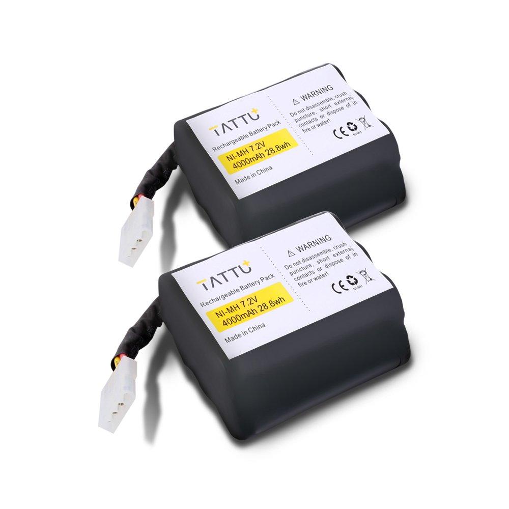 TATTU NiMH 7.2V 4000mAh Replacement Battery for Neato XV-11 XV-12 XV-14 XV-15 XV-21 XV-25 XV Essential XV Signature Pro 945-0005 205-0001 (2 Pack) Robotic Vacuum Cleaner