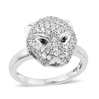 J FRANCIS Women Platinum Plated Sterling Silver Made with Swarovski® Zirconia Halo Ring Size P GDsL1