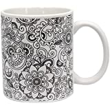 Color Joy Stoneware Coffee Mugs Oasis Adult Coloring Products, White
