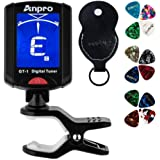 Anpro GT-1 Tuner Guitar Tuner 360 Degrees Rotation Digital Stamp Screen LCD 12PCS Picks with Pouch for Violin, Ukulele Chromatic Suitable Temperate Range