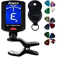 Anpro GT-1 Tuner Guitar Tuner 360 Degrees Rotation Digital Stamp Screen LCD 12PCS Picks with Pouch for Violin, Ukulele…