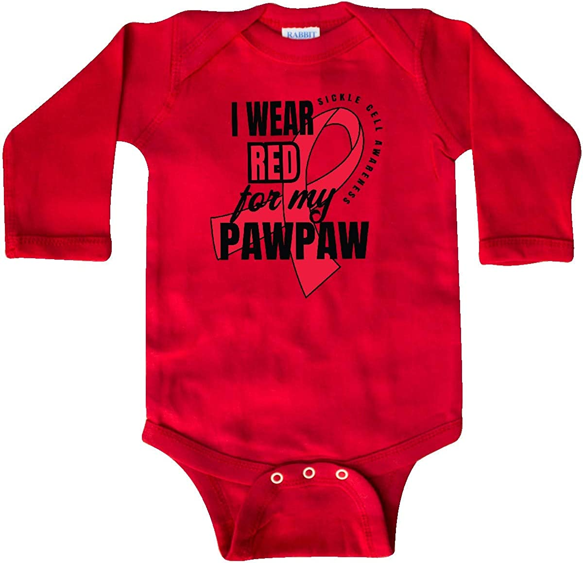 inktastic Sickle Cell Awareness I Wear Red for My Pawpaw Long Sleeve Creeper