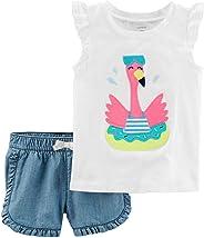 Conjunto Carter's 2 Pçs Blusa e Short Menina – 9 Meses