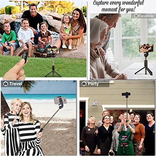Alptoy Selfie Stick Bluetooth, Extendable Selfie Stick with Wireless Remote and Tripod Stand Selfie Stick for iPhone X/iPhone 8/8 Plus/iPhone 7/iPhone 7 Plus/Galaxy Note 8/S9/S9 Plus/S8 by Alptoy (Image #2)