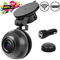 Cool Sen 1080p FHD Wide Angle WiFi Car Dashboard Camera with DVR, Motion Detection, Super Night Vision, Loop Recording, iOS Android APP, 64GB