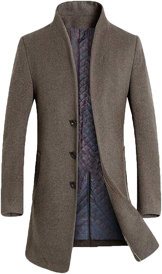 XiaoTianXinMen XTX Mens Slim Wool Blend Lapel Winter Single Breasted Pea Coat Trench Khaki US XS