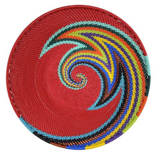 (Fair Trade Zulu Telephone Wire 8-inch Platter Basket, Red Rainbow)