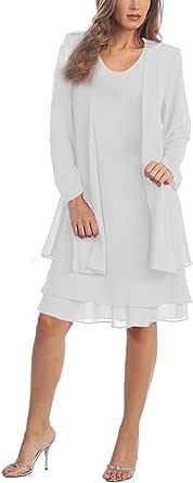 Naier Women's Chiffon Mother of The Bride Plus Size Jacket Dresses