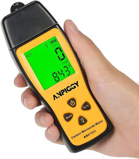ANPIGGY Handheld Carbon Monoxide Meter,High Precision Carbon Monoxide Detector,Portable CO Gas Leak Detector,LCD Display Sound and Light Alarm 0 1000ppm Battery Included