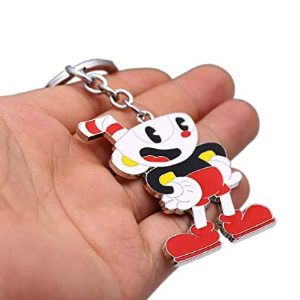 FITIONS - 2 Styles Cuphead Keychain Metal Cup Head Key Ring ...