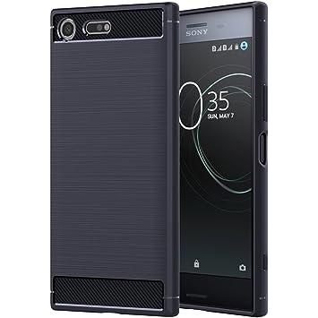 ebestStar - Funda Sony Xperia XZ Premium, XZ Premium Dual Carcasa Silicona Gel, Protección Diseño Fibra Carbono Premium Ultra Slim Case, Azul Oscuro ...