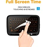 Tripsky H18 2.4GHz Backlit Wirless Mini Whole Glass Screen Panel Touchpad and keyboard combo, Handheld Remote with Touchpad Mouse for Android TV Box,PC, HTPC, IPTV,XBOX 360, PS3, PS4(Black)
