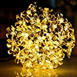Yaoqiaoji Solar String Lights Waterproof Fairy Lights Starry Blossom Flower Lights for Indoor and Outdoor, Patio, Garden, Party, Christmas (Warm White)