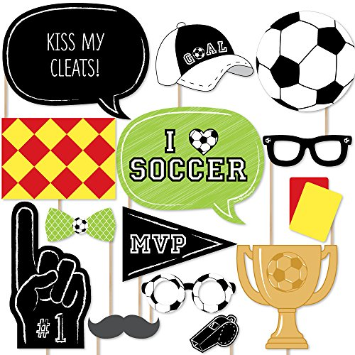 Big Dot of Happiness Goaaal - Soccer Photo Booth Props Kit - 20 Count ()