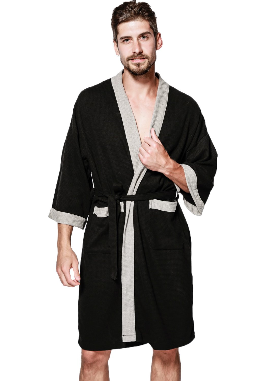 Mobarta Men's Waffle Kimono Robe Cotton Bathrobe Lightweight Nightgowns Sleepwear Hotel Spa Robe with Pockets