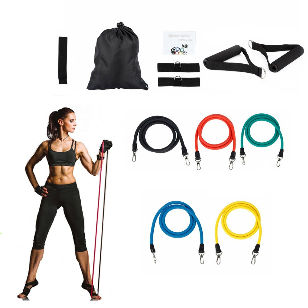Resistance Bands Set for Exercise Bands,Ankle Straps For Weight Lifting Yoga Pilates Abs Exercise Stretch Fitness Gym by K_LUCKYI