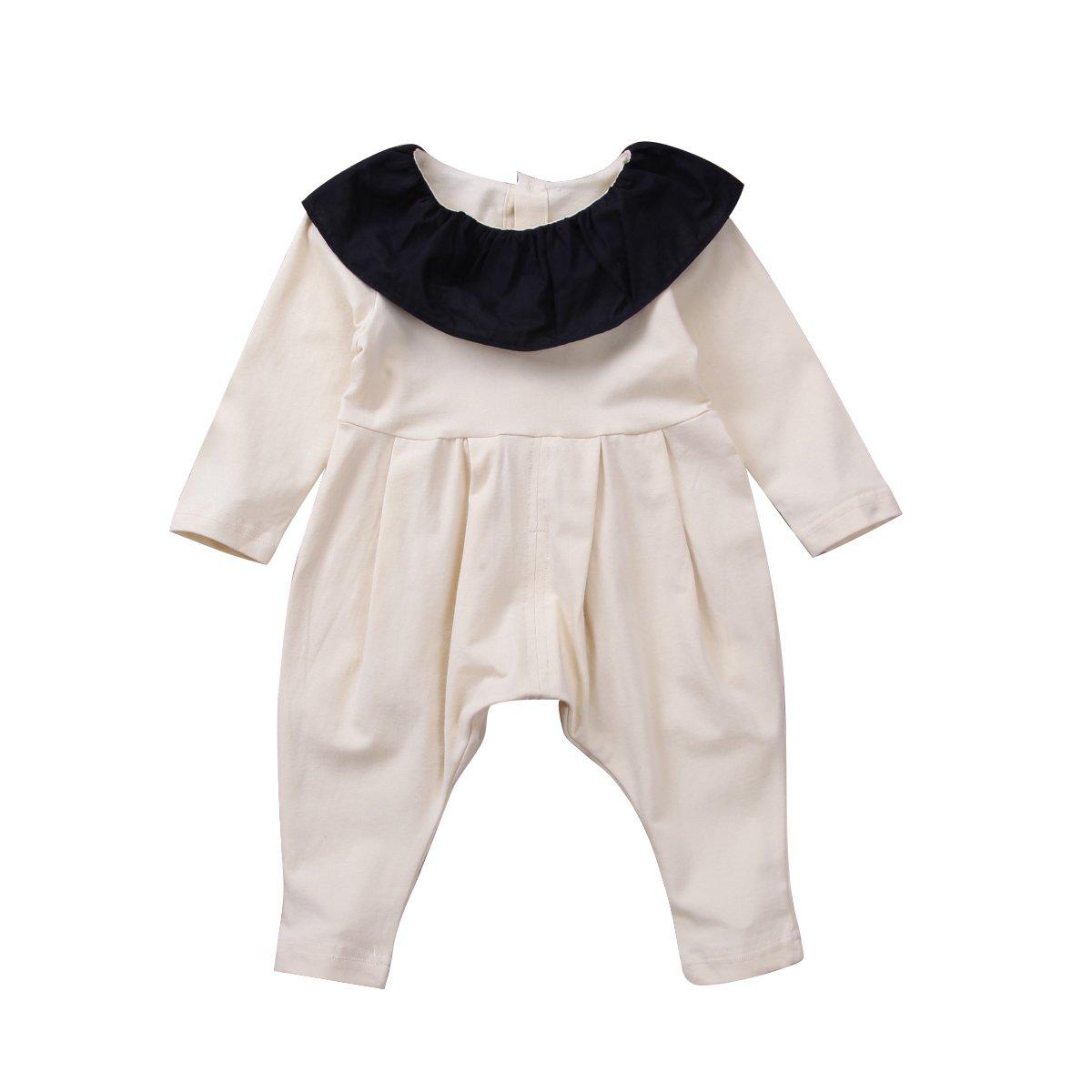 Infant Baby Girls Lovely Romper Lotus Leaf Collar Bodysuit Outfit Black Long Sleeve Basic Coveralls