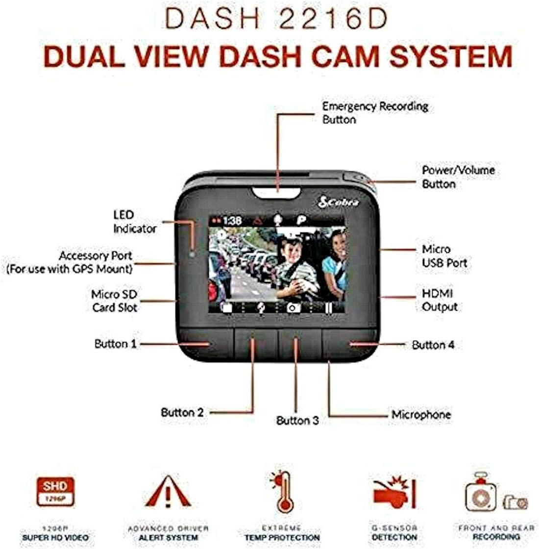 160 Degree Ultra-Wide Angle DVR Cobra Drive HD Dash Cam  with 32GB MicroSD Included Feat.1080p Full HD Front Cam and 720p HD Rear Cam with G-Sensor Auto Accident Detection Loop Recording
