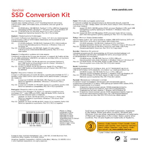 SanDisk SDSSDCK-AAA-G27 SSD Conversion Kit Step by Step Software and  Hardware