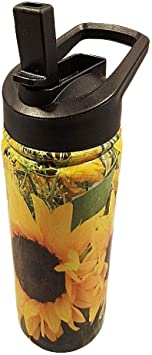 Beach Bottle with easy Pop-up Mouth Piece with Straw Sports Bottle Hiking Bottle stays ice cold and hot for 8 hours Gym bottle Sunflower Metal Thermal Water Bottle