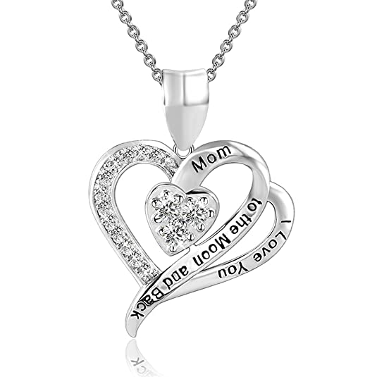 Amazon Com Sterling Silver Mom I Love You To The Moon And Back