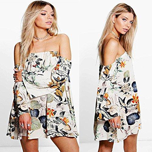 SKY Popular !!! Mujeres retro de hombro vestido impreso floral mini vestido de cóctel Beige