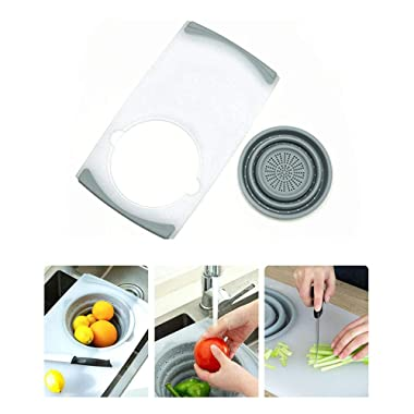 Volwco Multifunction Over-The-Sink Cutting Board with Removable Collapsible Colander, 3-in-1 Food Grade Plastic Chopping Board for Cut Vegetable, Drain, Food Tray
