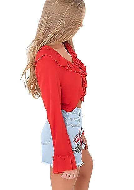 ... Playa Casual Señoras Camisetas V Cuello con Cruzadas Correas Color Sólido con Volantes Moda Cortos Camisas Blusa T Shirt: Amazon.es: Ropa y accesorios