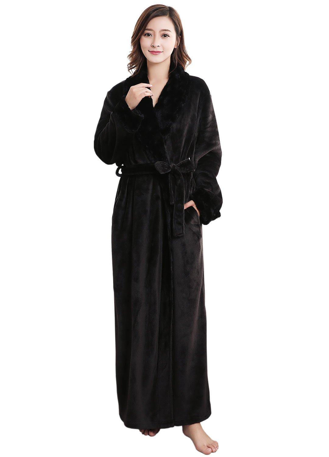 Thick Flannel Bathrobe Ultra Soft Plush Microfiber Fleece Robes ...