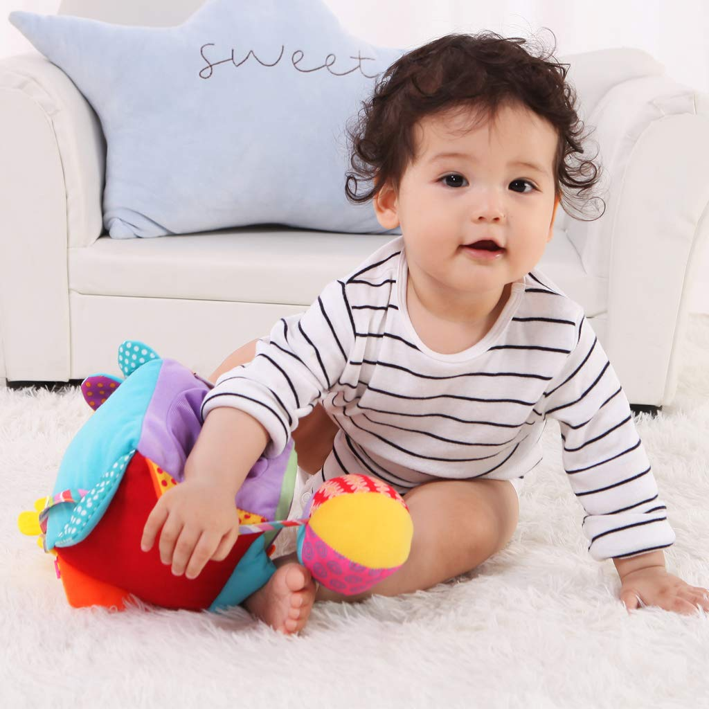 Laces on Airplanes Cars or Travel Perfect for Toddlers at Home Buttons and More Buckles KAKIBLIN Cubic Activity Learning Toy with Zippers Snaps Latches