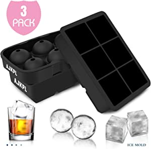 Sphere Ice Mold Big Ice Cube Trays 3 Pack, Novel Silicone Ice Ball Maker, Easy Release Reusable Ice Molds Maker for Chilling Whiskey Wine Cocktail Beverages Juice