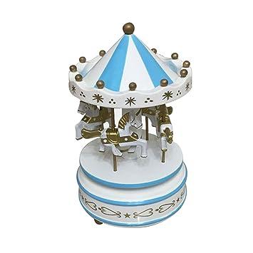 Thee Merry Go Round Karussell Spieluhr Aus Holz Dekoration Von Haus  Weiß Blau