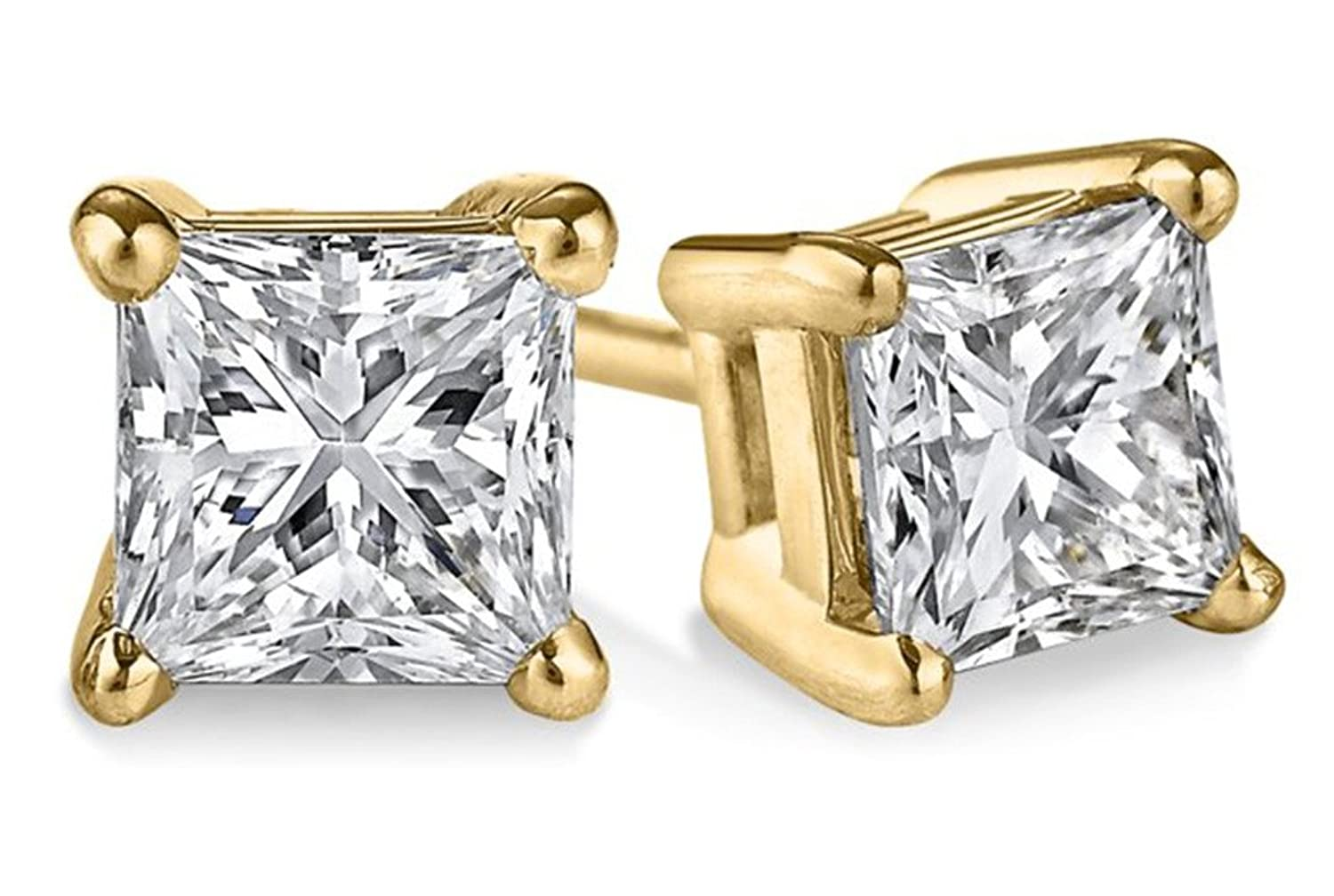 princess stud platinum earrings square solitaire cut main diamond