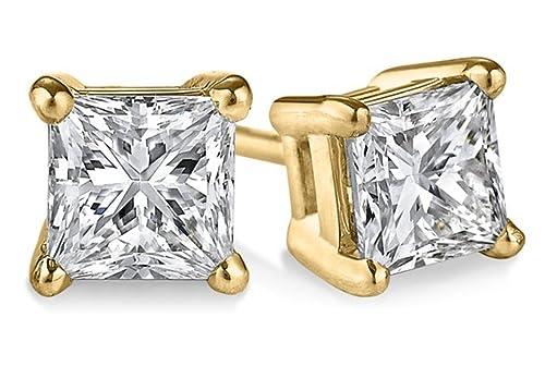 PARIKHS Princess Cut Diamond Stud Promo Quality in 14K Yellow Gold 0.05 ctw, I3 clarity