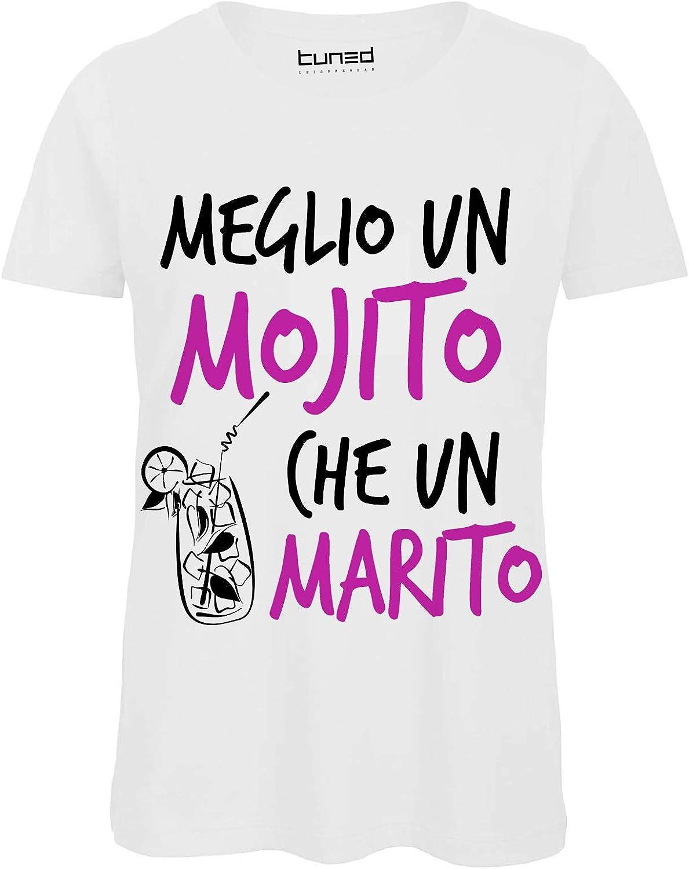 T-Shirt Divertente Donna Maglia Addio al Nubilato Meglio Un Mojito Che Un Marito Taglia: XL Colore: White CHEMAGLIETTE