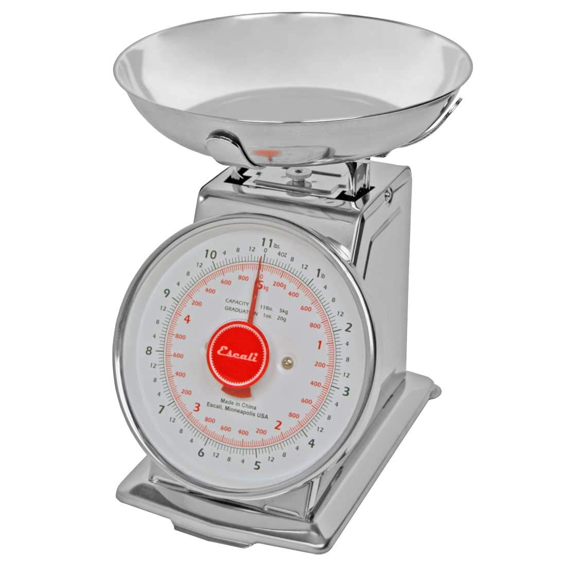 Escali DS115B Mercado Retro Classic Mechanical Dial Stainless Steel Scale, Removeable Bowl, Tare Functionality, 11lb Capacity, Stainless