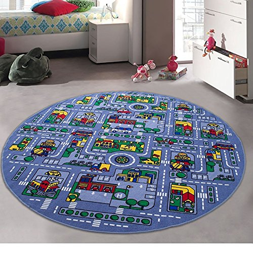 Kids / Baby Room / Daycare / Classroom / Playroom Area Rug. Great For Playing With Cars. City Map. Car Tracks. Roads. Fun. Educational. Non-Slip Gel Back. Play Mat (8 Feet X 8 Feet Round) by iSavings