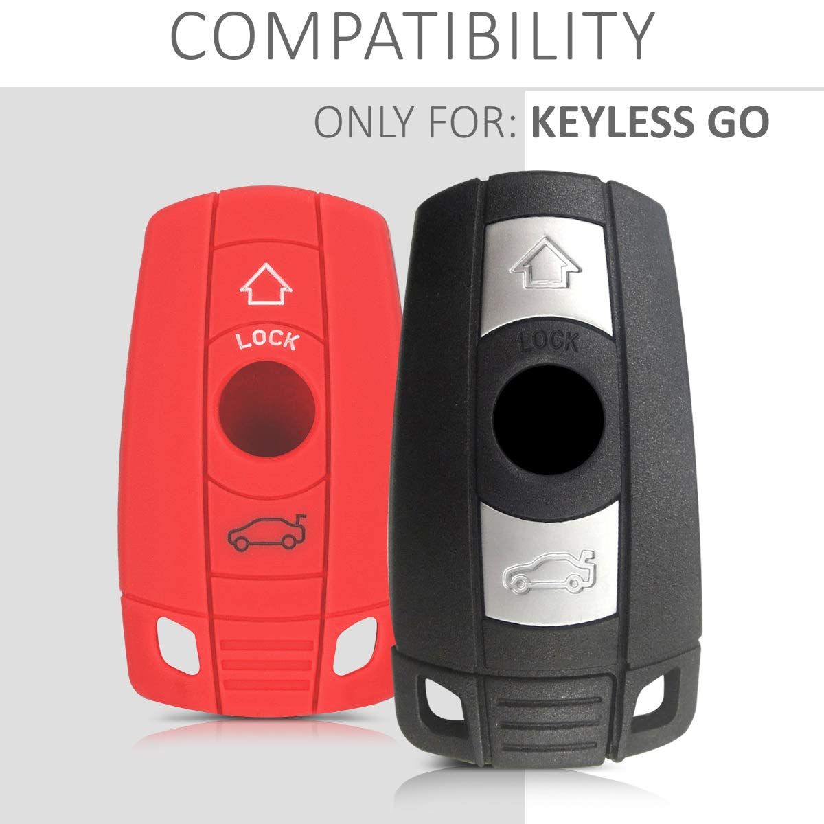 only Keyless Go kwmobile Car Key Cover for BMW - Metallic Silver Silicone Protective Key Fob Cover for BMW 3 Button Car Key