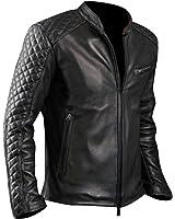 Men's Black Quilted Sheepskin Leather Jacket